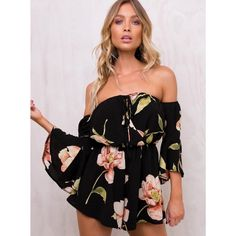 (14.97$)  Watch more here - http://aib1v.worlditems.win/all/product.php?id=G8909B-M - Sexy Women Jumpsuit Floral Print Off Shoulder Bell Sleeves Backless Casual Playsuit Rompers Black