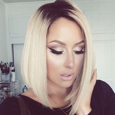 Long bob cut- love the dark root with blonde