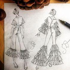 Fashion Design Drawing Related image Fashion Drawing Dresses, Fashion Illustration Dresses, Drawing Fashion, Fashion Illustrations, Fashion Art, Face Fashion, Design Illustrations, School Fashion, Fashion Books