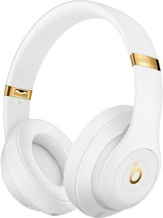 Buy White Beats Studio³ Wireless Bluetooth Over-Ear Headphones with Pure Adaptive Noise Cancelling & Mic/Remote from our Headphones range at John Lewis & Partners. Free Delivery on orders over Cute Headphones, Over Ear Headphones, Crown Headphones, Beats Studio Headphones, Ipod Nano, Ipad Mini 3, Apple Tv, Gold Beats, Leica