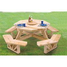 I sure wish grandpa were still around to build me this Octagon Picnic Table.