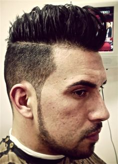 Pompadour with shorter fade. Mitch by Paul Mitchell Clean Cut.