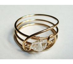 Herkimer Diamond Ring Now I just can't stop. I think you can do this one with a paper clip
