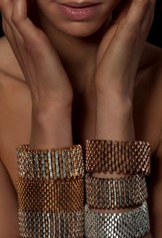 Rock Originality With White Winters Jewelry...cool...peyote stitch with nuts from the hardware store!!!