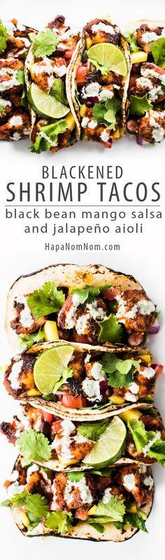 Blackened Shrimp Tacos with Black Bean Mango Salsa and Jalapeño Aioli