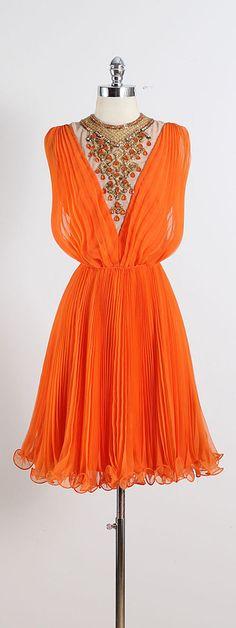 ➳ vintage 1960s dress  * orange crepe chiffon * acetate lining * beaded & rhinestone jeweled bib * pleated throughout * back zipper * by Jack