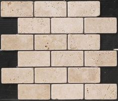 "Natural Choice Tumbled Travertine Brick Design 12 x 12 Stone Mosaic Tile(Actual Size 12"" x 12"")"