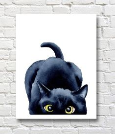 Sneaky Black Cat - Art Print - Wall Decor - Watercolor Painting - Photography İdeas,Photography Poses,Photography Nature, and Vintage Photography, Watercolor Cat, Watercolor Paintings, Cat Paintings, Painting Art, Black Cat Painting, Black Cat Drawing, Cat Art Print, Wall Art Prints, Illustration Art