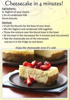 (Microwave) 4 min cheesecake using yogourt Tart Recipes, Cookbook Recipes, Sweet Recipes, Baking Recipes, Easy Desserts, Delicious Desserts, Dessert Recipes, Yummy Food, Desserts