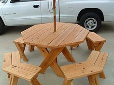 Hexagonal picnic table plan from popular mechanics free picnic table plans picnic table plans not only for eating your meals outside or any other place around your home where a picnic table is a project watchthetrailerfo
