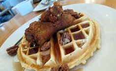 "Chicken 'n Waffles at ""Two Chefs and a Table"" in Gastown."