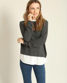 Pull chemise - On aime l'effet superposition du pull chemise, chic et facile à porter a...