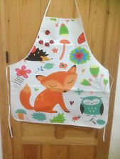 Adult Size PVC Apron White With Cute Fox,Owl,Hedgehog  NEW