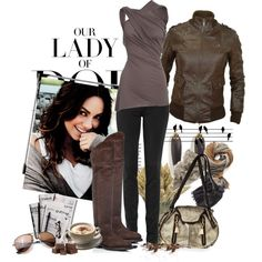 Leather jacket, draped top, and flat knee high boots.  Love!
