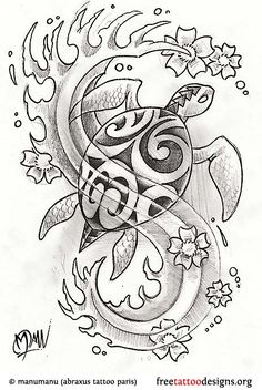 Turtle tattoo design idea