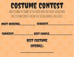 costume contest ballot template