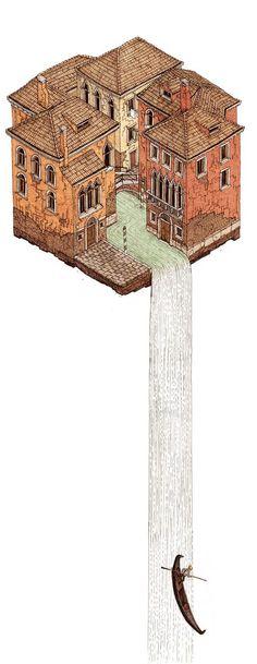 La Cascata by Evan Wakelin, via Behance http://www.pinterest.com/chengyuanchieh/illustration-architecture/
