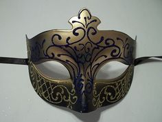 Elegant Masquerade Masks for Prom | NAVY GOLD SCROLL MARDI GRAS MASQUERADE BALL PROM MASK - New and Used ...