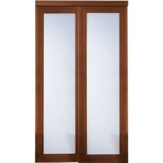 TRUporte Grand 2000 Series 48 in. x 80 in. Composite Cherry 1-Lite Tempered Frosted Glass Sliding Door-2000 at The Home Depot