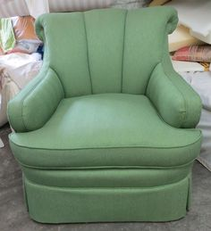 TRS Channel Back Chair in High End Green Herringbone Linen Bland - Totally Refurbished by WydevenDesigns on Etsy