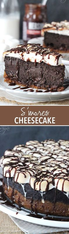 Smores Cheesecake! Full of melty marshmallows, chocolate and graham crackers!