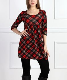 Red Plaid Empire-Waist Dress