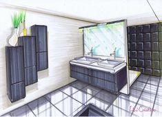 Meubles noirs. Cette salle de bains a été remise au goût du jour avec de la peinture pour façade et de la peinture pour carrelage. A l'origine, les meubles étaient couleurs bois. Les façades ont été soigneusement poncées puis une sous-couche a été appliquée...