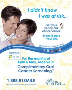 April is Oral Cancer Month! Altima Dental Centres are proud to offer complimentary oral cancer screenings for the month of April. For more info visit: www.altimadental.com