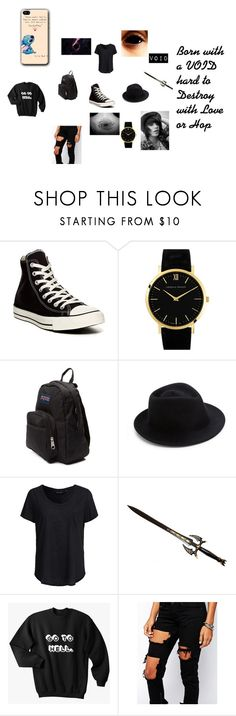 """""""Void"""" by universalspacetrash on Polyvore featuring Converse, Larsson & Jennings, JanSport, Eugenia Kim, New Look, Liquor n Poker, women's clothing, women's fashion, women and female"""