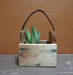 Wooden box leather handle carry all planter by rustichacienda