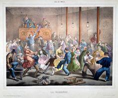 """LA BARRIERE - Lithographie de la série """"Bal de Paris"""" par Laurant et Cie"""