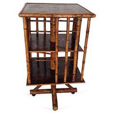 English Bamboo Revolving Bookcase – 19th century English chinoiserie bamboo revolving bookcase. Purchased in England. $1795