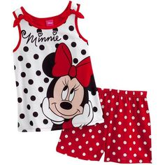 Disney Mickey Mouse and Friends Minnie Mouse Polka-Dot Pajama Set - Girls Kids Nightwear, Boys Sleepwear, Disney Baby Clothes, Disney Outfits, Baby Girl Party Dresses, Little Girl Dresses, Toddler Girl Outfits, Kids Outfits, Baby Girl Fashion