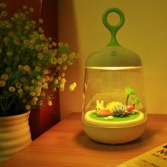 [$10.71] 1W USB Rechargeable Touch Switch Rabbit Shape Cage Light Creative Modern Micro Landscape Plant Light Color Changing DIY Grow Night Light, DC 5V