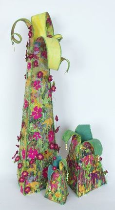 Towers of Flowers, textile art by Helen Cowans