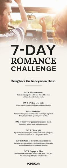 To make sure you don't turn into that couple who sits silently, staring across the table during a date-night dinner, take this fun and flirty seven-day romance challenge. Relationship Challenge, Marriage Relationship, Marriage Proposals, Happy Marriage, Marriage Advice, Love And Marriage, Successful Marriage, Relationship Questions, Relationship Building