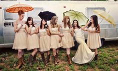 Bride's maids in cute dresses with cowboy boots