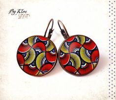 Boucles d'oreilles dormeuses Cabochon Wax Afrique par ByKloe Dot Art Painting, Mirror Work, Japanese Paper, Bijoux Diy, Paper Design, Afro, Washer Necklace, Centre, Creations