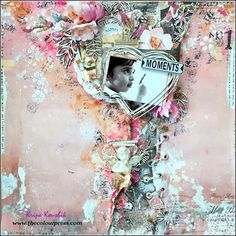 the Colour Press: (Tutorial) : 'Moments' Shabby Chic Scrapbook Layout Mixed Media Scrapbooking, Scrapbooking Layouts, Scrapbook Pages, Prima Marketing, Layout Inspiration, Mixed Media Art, Mix Media, Bookbinding, Shabby Chic