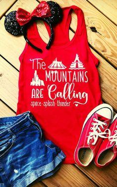 Disney Mountains are calling shirt space splash Thunder Mountain ladies disney vacation shirt disney mountain shirt disney shirts for women #affiliate #disney #clothing #tshirt
