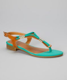 Another great find on #zulily! Sea Foam & Brown Embellished Sandal #zulilyfinds
