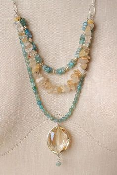 "Anne Vaughan Designs - Summer Rain 25"" Multi strand Pendant Necklace, $104.00 (http://www.annevaughandesigns.com/summer-rain-25-gemstone-multistrand-necklace-for-women/)"