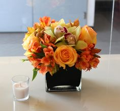 Fleurs du Jour - Santa Monica - $70 bouquet + tax + $15 delivery fee = $90 Mixed Square Arrangement