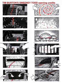 Sweeney Todd - Opening Credits Storyboard.   Burton's storyboards have always been one of the things I've admired most about his work and genius creative mind