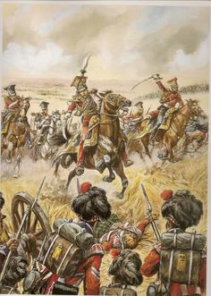 General Edouard de Colbert leading the Red Lancers as they charge a Highlander square at Waterloo.