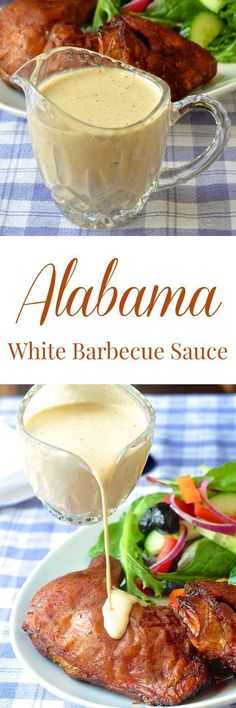 White Barbecue Sauce - an Alabama favorite! More of a condiment than a BBQ sauce this tangy, creamy sauce compliments both smoked and grilled chicken & pork. White Bbq Sauce, Barbecue Sauce, Bbq Sauces, Barbecue Chicken, Dipping Sauces, Smoked Chicken, Grilled Chicken, Smoked Pork, Chicken Dips