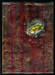 "Defensive Wound  Mixed media encaustic on wood panel, 10"" x 8""  (by werkadopolis)"