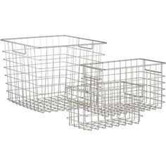 Wire baskets both for main shelf, and for sewing station.