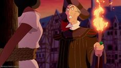 Frollo decides to punish Esmeralda for not being attracted to him. Movie: The Hunchback of Notre Dame Frollo Disney, Disney Xd, Disney Films, Disney Villains, Disney Cartoons, Disney Pixar, Disney Characters, Disney Princesses, Judge Claude Frollo