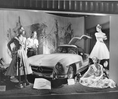 Innes's store display window, Wichita, Ks in early 1950's featuring the Gulfwing Mercedes.